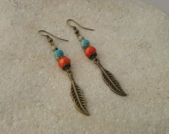 Dangle earrings, bronze feather, turquoise and red beads