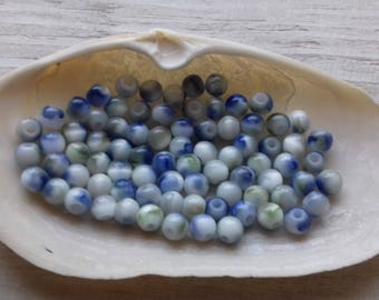 10 pearls 6 mm blue glass cats eyes