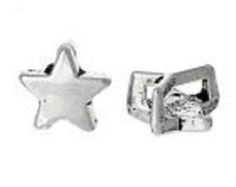 10 beads from silver metal star in leather or cord