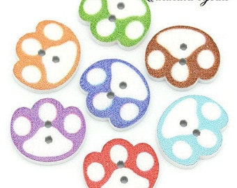12 buttons 14 x 16 mm wooden cat paws