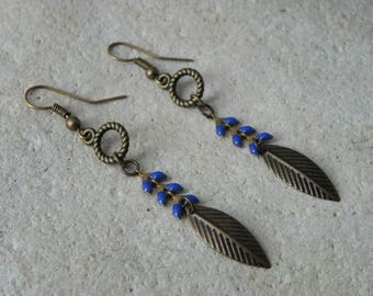 Earrings dark blue glazed corn chain *.