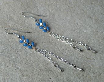 Blue glazed corn chain earrings