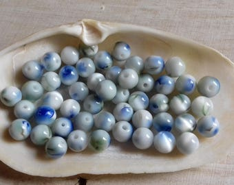 10 pearls 8 mm glass cat's eye