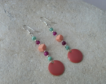 Earrings, enamel, dangle earrings, sequin