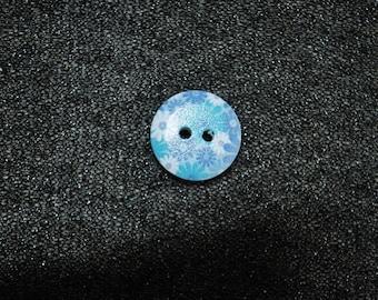 12 blue flowers 15 mm wooden buttons