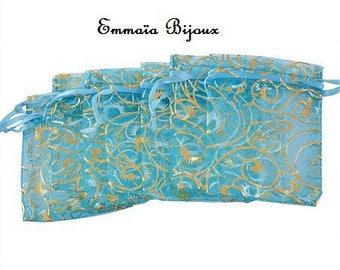 2 patterns turquoise Organza Pocket Gold 7 x 9 cm