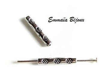 20 beads 14 x 2 mm silver metal tube