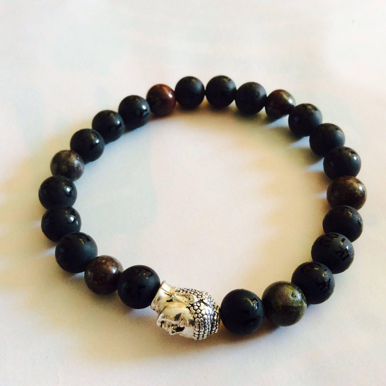 bracelet homme fete des p res t te de bouddha perles onyx. Black Bedroom Furniture Sets. Home Design Ideas