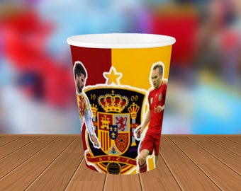 Spain Paper Cups | Cute World Cup Cups for Birthdays | 8 Pack