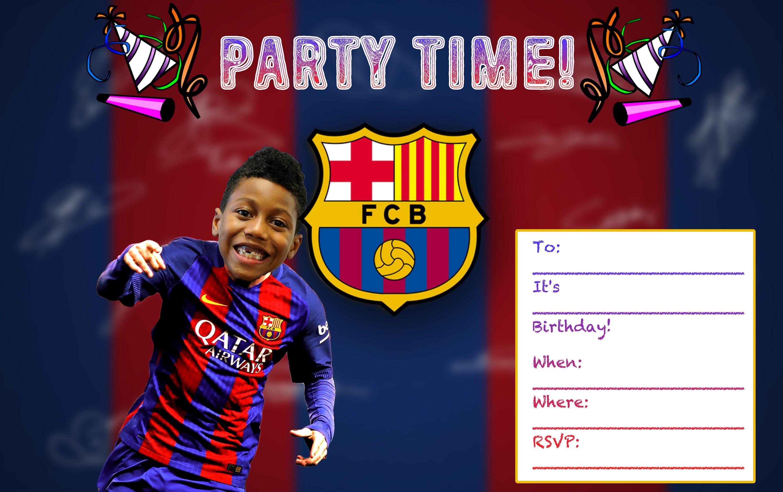 Fc Barcelona Custom Birthday Invitation Printable Digital Download Print For Boys Girls Party Invitation Messi