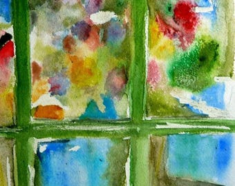 watercolor, a bouquet of flowers behind glass