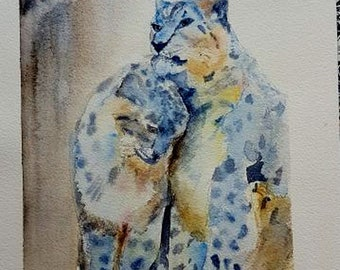 the Panther snow, original watercolor painting