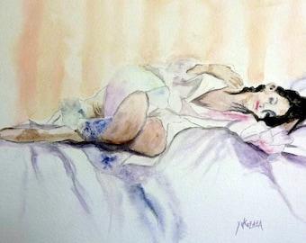watercolor, a young woman sleeps, she dreams