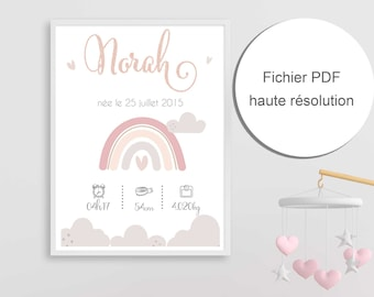 Personalized Birth Poster for Baby's Room or Birth Gift - Girl - Rainbow - Pastel