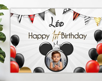Large personalized birthday poster - 100x65 , 150x100 or 200x100 - Mickey Theme- Wall poster