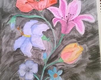 My watercolor bouquet