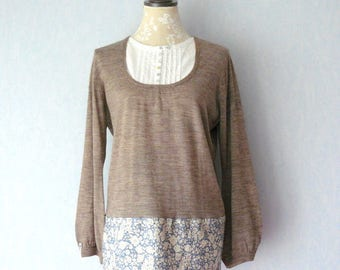 Promotion - Beige sleeve tunic sweater long Liberty fabric blue and off-white flowers, women size 44