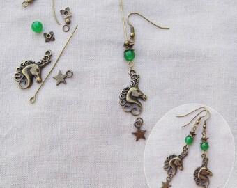 Kit earrings Unicorn star - A22056 green dyed Jade beads