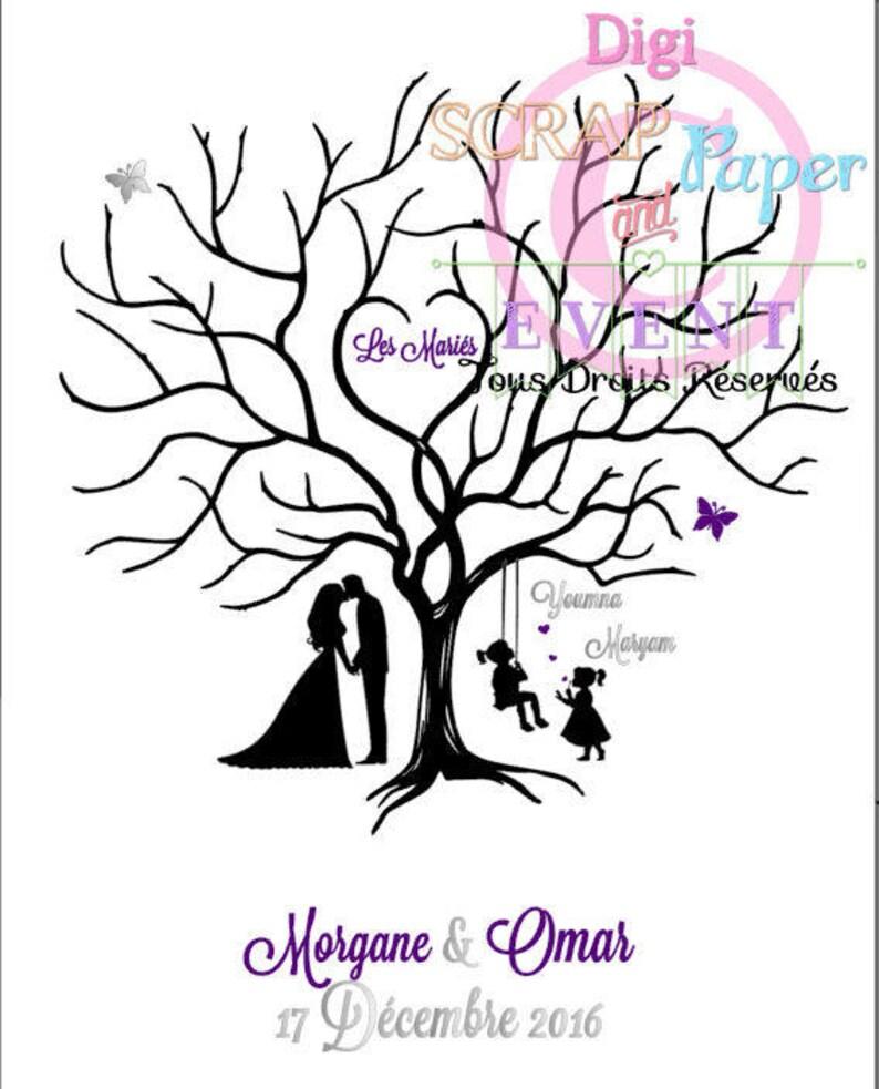 Arbre à Empreintes 4050 Pour Le Mariage De Morgane Omar Etsy