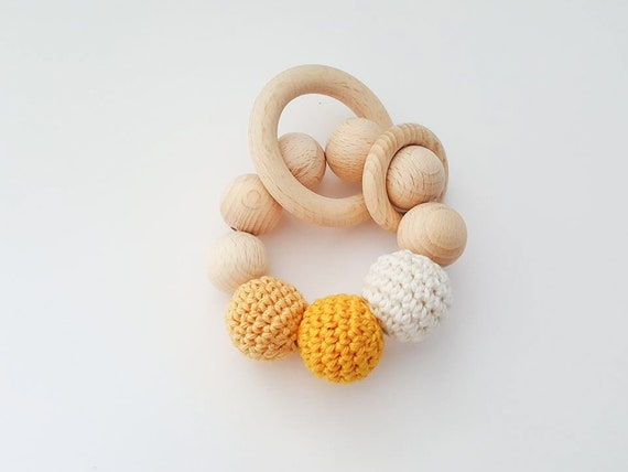 Handmade Natural Wooden Crochet Bead Ring Baby Teether Teething Shower Gift
