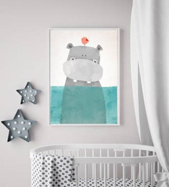 Gross Moderne Sommer Hippo Kinderzimmer Poster Etsy