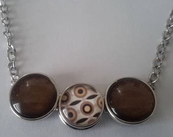 Necklace with 3 snaps Brown iridescent and Brown abstract patterns