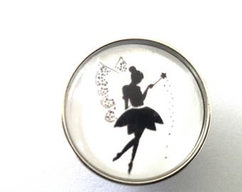 snap glass winged fairy cabochon and his magic wand
