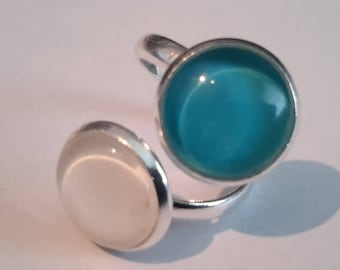 lagoon blue and white double cabochon ring