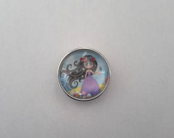 snap glass cabochon 18mm little Princess with black hair