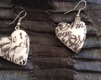 Earrings heart patterned writing polymer clay