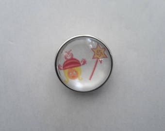 snap glass cabochon 18mm little Princess with her magic wand