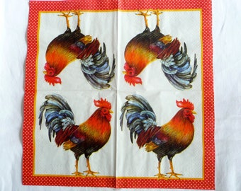 Batch of 2 paper napkins with rooster
