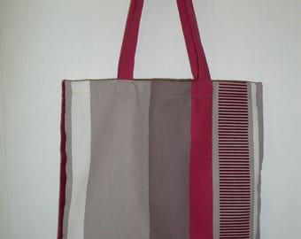 Tote bag tote bag in cotton 41x39cm with taupe and red stripes