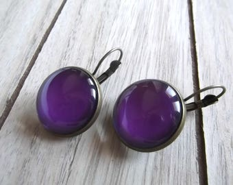 Glass cabochons round 20 mm purple/amethyst earring