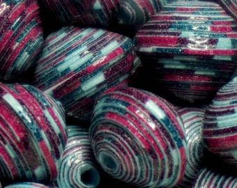 """Paper beads, jewelry making, OOAK, hand made. Paper beads """"Blueberry"""""""