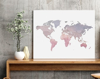 world map wall art world map printable nursery world map art pink violet blue world map print world map art decor world map digital download