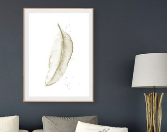PRINTABLE Art, WATERCOLOR FEATHER, Sepia Beige Feather Print, Watercolor Painting, Printable Feather Art, Feather Wall Art, Digital Download