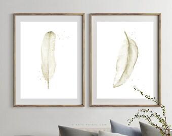 SET of 2 WATERCOLOR FEATHERS Prints, Sepia Beige Feathers Printable, Watercolor Painting Art Print Set, Living Room Decor, Digital Download
