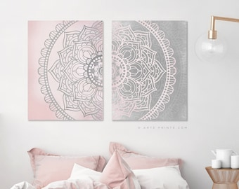 Pink and grey decor | Etsy