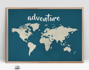 World map poster etsy adventure world map gumiabroncs Gallery