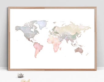 world map wall art watercolor nursery world map map of the world large blue beige world map print neutral nursery decorinstant download