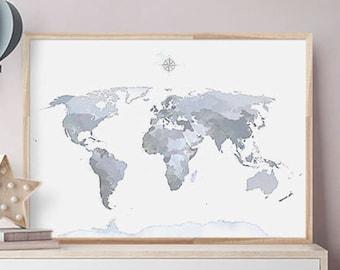 WORLD MAP Art, Navy Blue Watercolor Wall Art, PRINTABLE World Map, Map of the World Print, Marine Poster, Map Art, Large Map, Carte du Monde