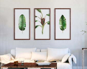 SET Of 3 Banana Narrow Wall Art Leaves Watercolor Green Printable Set Botanical Tropical Plant Minimalist Leaf Instant Download