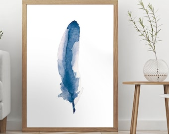 WATERCOLOR FEATHER, Blue Feather Print, Navy Blue Feather Printable, Watercolor Painting, Blue Room Decor, Gift for Women, Digital Download