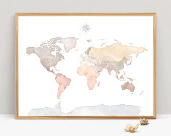 Printable world map etsy watercolor map of the world world map antarctica print pastel world map print world map instant download world map wall art printable gumiabroncs Image collections