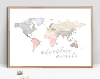 World map painting etsy adventure awaits watercolor digital painting world map nursery print kids world map blue beige wall art printable digital download gumiabroncs Image collections
