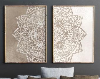 4e247000b Set of 2 wall decor, mandala printable wall art set. Neutral colors yoga  poster, zen wall art. Two mandala art print set, digital download
