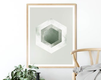 Minimalist Geometric Print Downloadable Prints Lines Hexagon