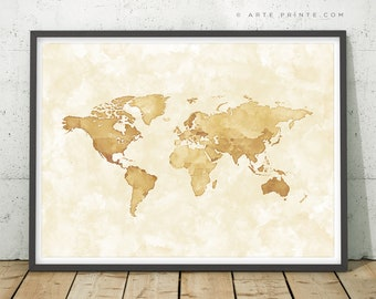 Sepia World Map Etsy - World map sepia toned