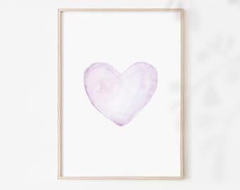 Baby Girl Nursery Decor Purple Watercolor Heart Print Pastel Color Art Love Baby Decor Baby Girl Room Wall Decor Printable Gift For Her